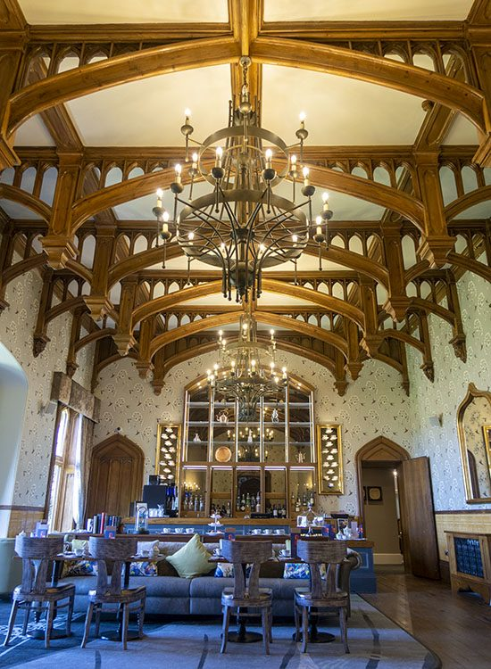 The grand setting of the Oak Room at Warner Leisure Hotels Studley Castle in Warwickshire, England