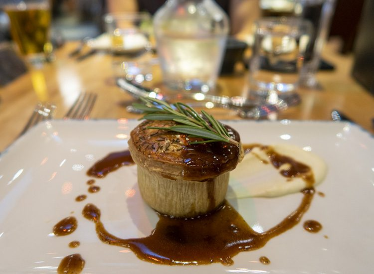 A mini pie served as a starter at Warner Leisure Hotels Studley Castle in Warwickshire, England