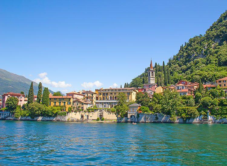 The colourful houses of Cernobbio, on Lake Como, Italy