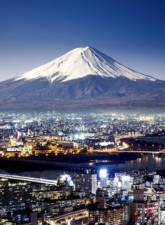 A night time shot of Mount Fuji, Japan