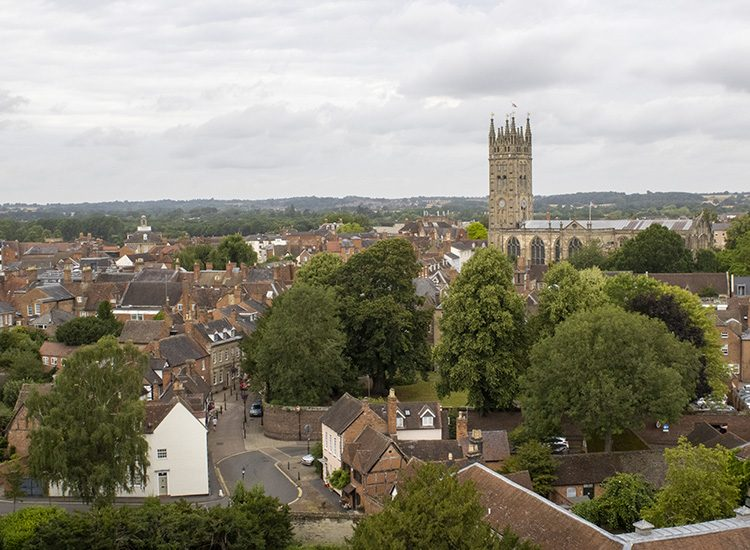 The view over the roofs of Warwick, as seen from Guy's Tower at Warwick Castle in Warwickshire UK