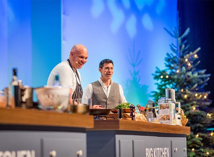 Tom Kerridge and Marcus Bean in the Big Kitchen at the BBC Good Food Show Winter