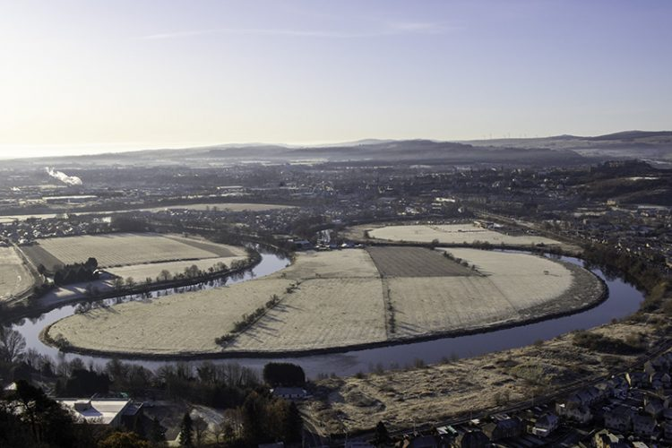 A view from the top of the National Wallace Monument of the loop in the River Forth where the Battle of Stirling Bridge took place.