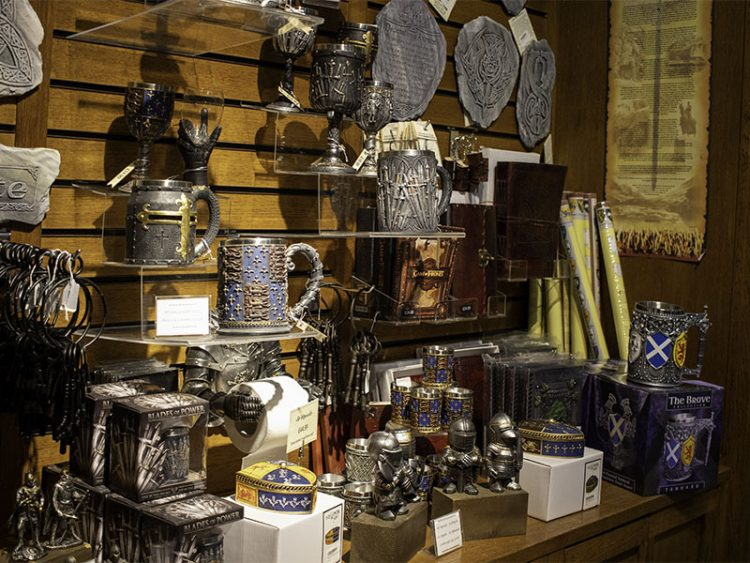 A selection of products for sale in the gift shop at the National Wallace Monument