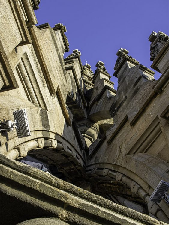 A close up view of the stonework in the Crown Spire of the National Wallace Monument, Stirling