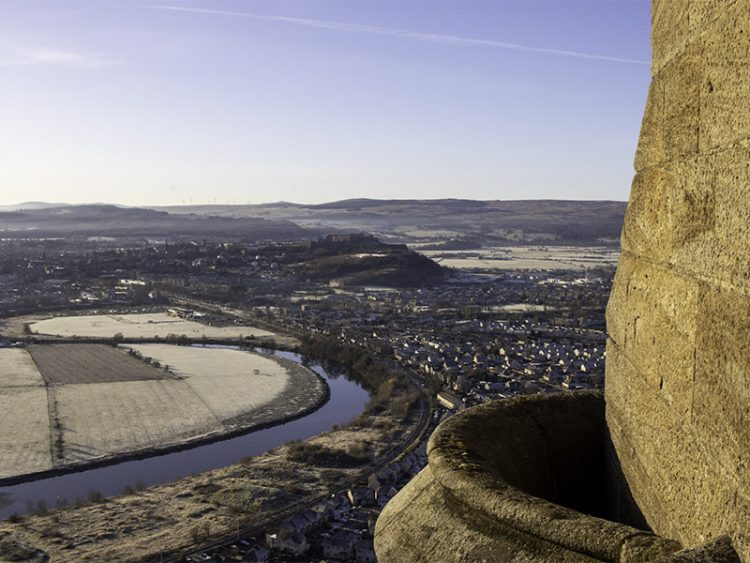 The view from the top of the National Wallace Monument, showing the loop in the River Forth where the Battle of Stirling Bridge took place