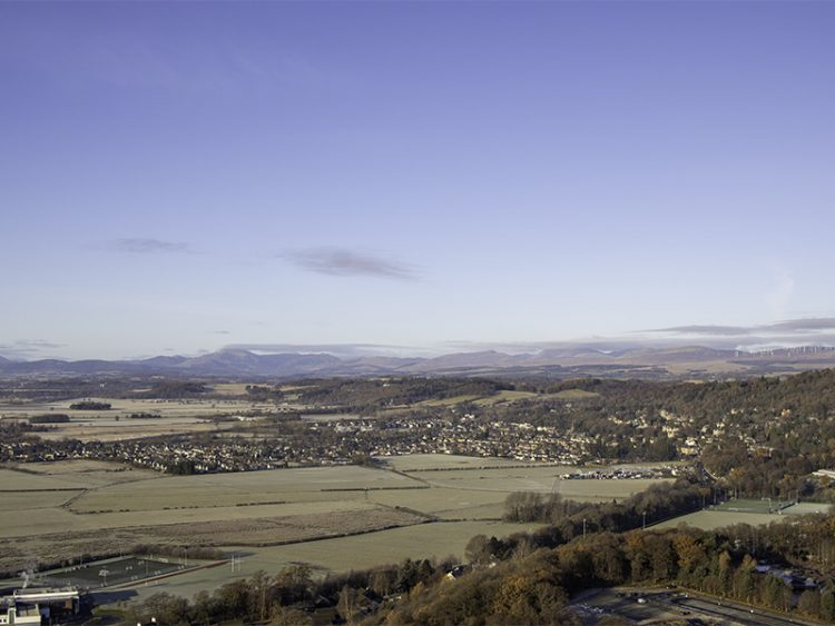 A view out to Ben Lomond and the Trossachs, taken from the National Wallace Monument near Stirling