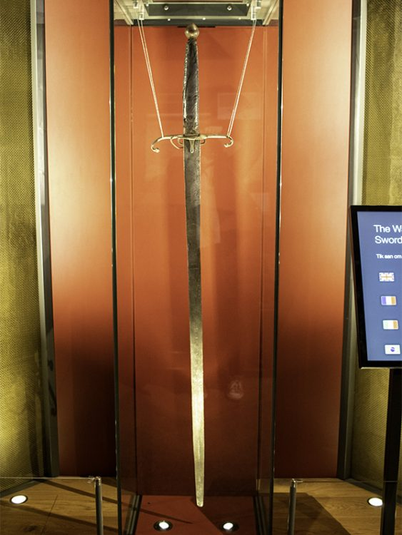 William Wallace's sword inside a glass cabinet