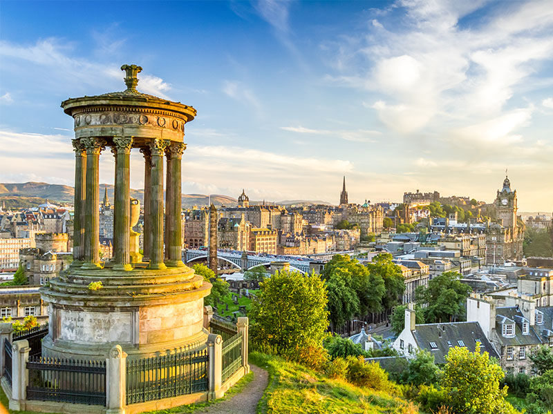 View of Edinburgh castle from Calton Hill at sunset