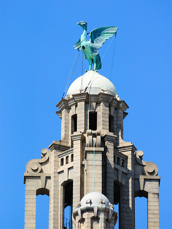 One of the two Liver birds on top of the Royal Liver building in Liverpool