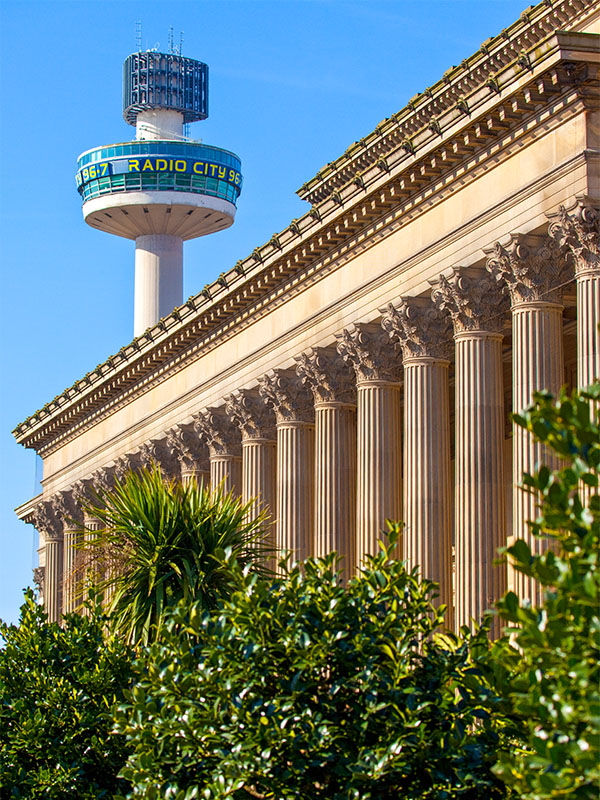The St George's Hall in Liverpool, with the Radio City tower in the background