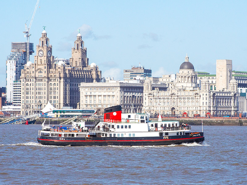 The Three Graces of Liverpool - the Royal Liver Building, the Port of Liverpool Building and the Cunard Building