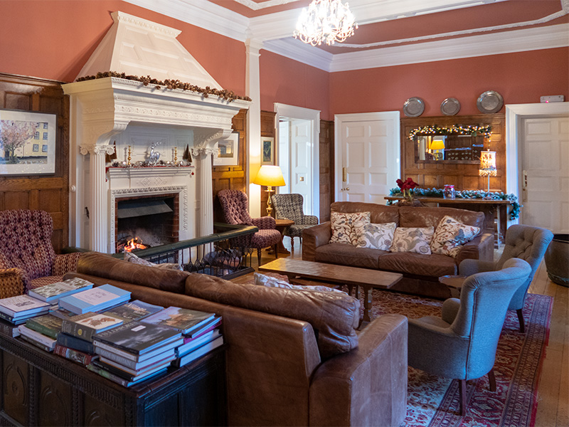 The sitting room at Gliffaes Country House and Hotel near Crickhowell in South Wales