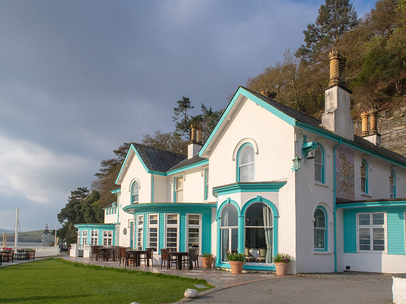 The front of Hotel Portmeirion in Portmeirion Village, North Wales, UK