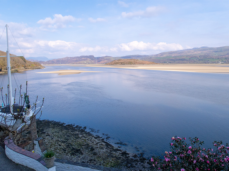 The view over the Dwyryd estuary from a bedroom at Portmeirion Hotel, Wales