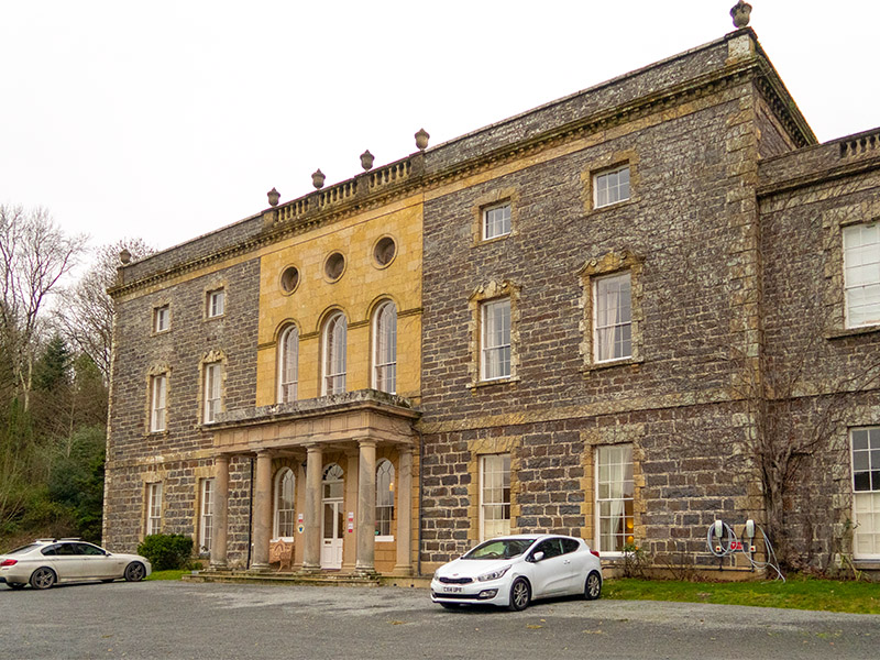 The front of Nanteos Mansion hotel near Aberystwyth in mid-Wales