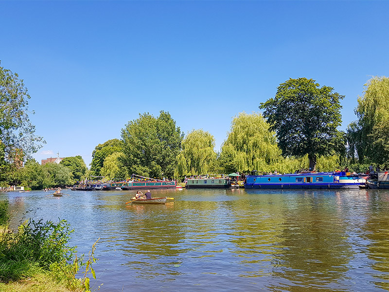 Boats on the River Avon at Stratford Upon Avon, one of the destinations on my National Holidays Mystery Tour Weekend