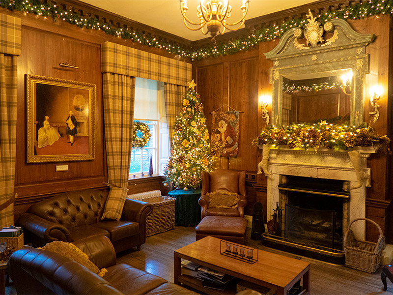 The Library at Peterstone Court Hotel near Brecon in South Wales