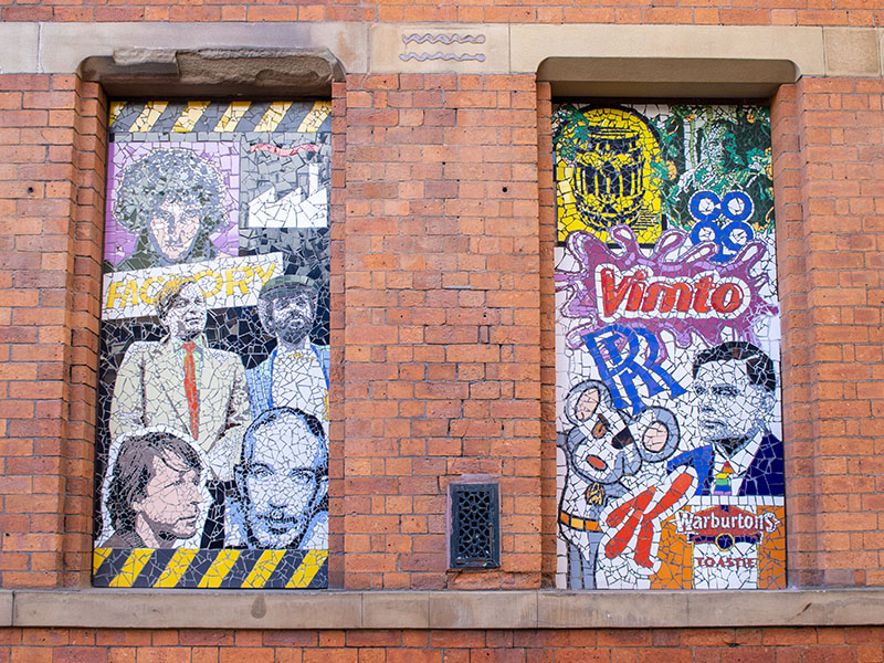 Colourful mosaics on the wall outside Affleck's in the Northern Quarter, Manchester, UK