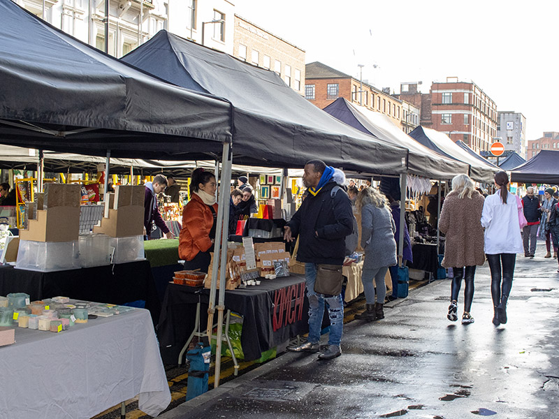 The Makers Market on Stevenson Square in the Northern Quarter, Manchester, UK