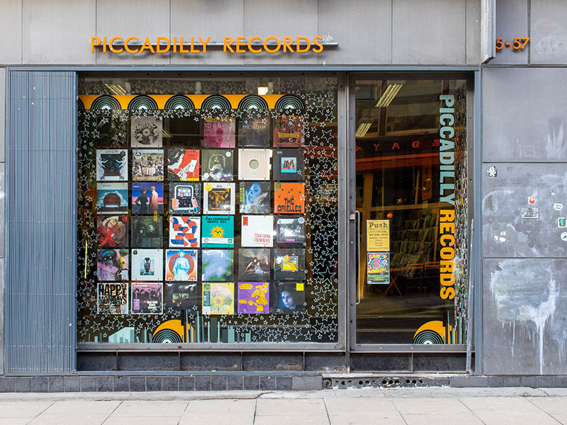 Piccadilly Records music store in the Northern Quarter, Manchester, UK