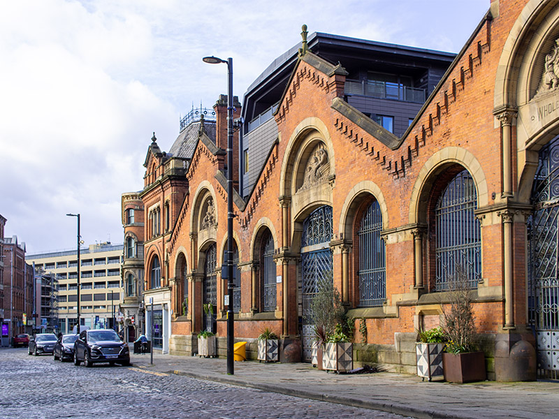 The Smithfield Market Hall in the Northern Quarter, Manchester, UK