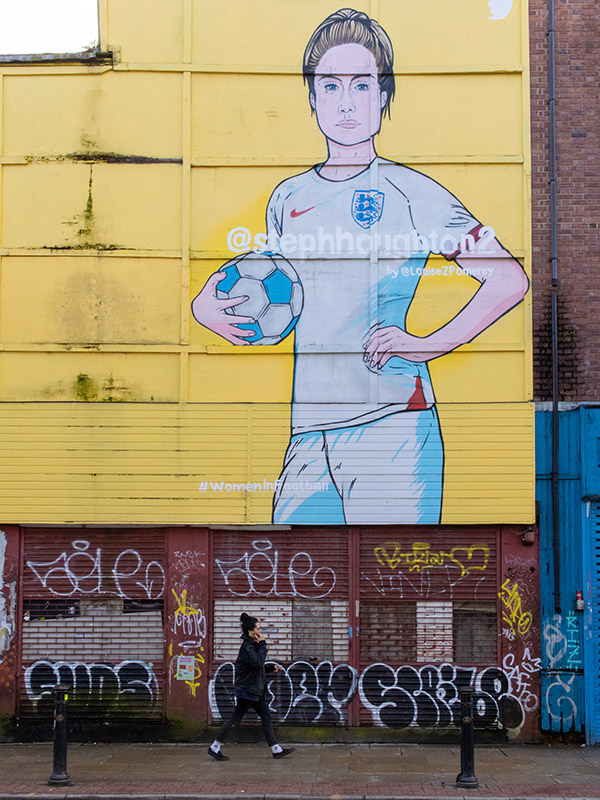 Street Art featuring England footballer Steph Houghton, in the Northern Quarter, Manchester, UK