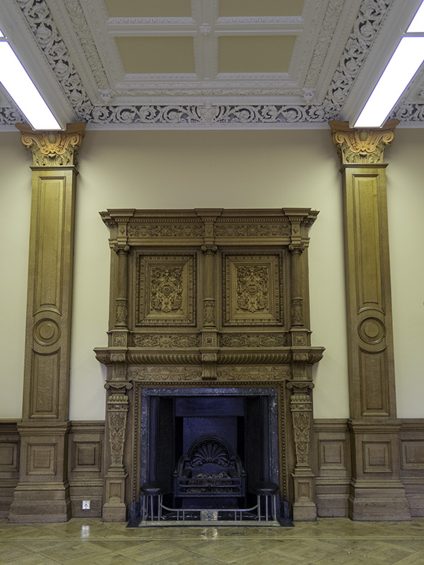 A large, intricate fireplace at Hestercombe House, Somerset (UK)