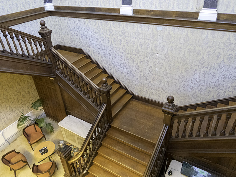 The main staircase at Hestercombe House, near Taunton in Somerset (UK)